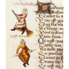 1400s French illuminated manuscript of Witches on their brooms